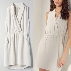 ARITZIA Sabine Wrap Dress Matte Pearl XXS